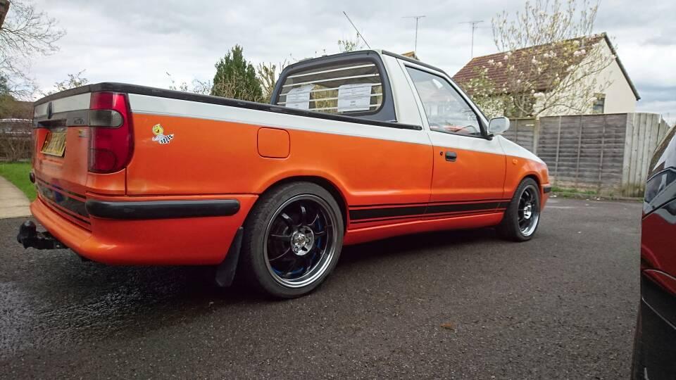 The Orange And White Felicia Pickup Classic Skoda