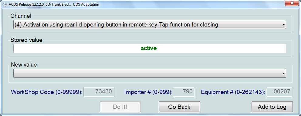 Enabling boot closing from keyfob and interior button using VCDS