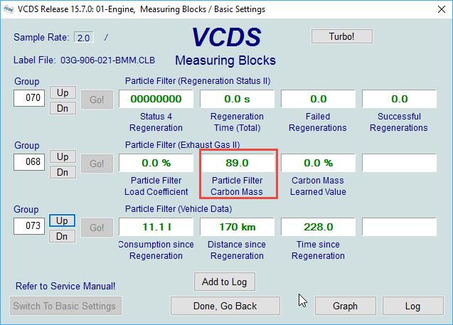Strange DPF values in VCDS - Skoda Octavia Mk II (2004