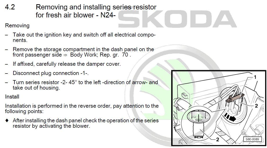 Heater blower resistor - Skoda Rapid - Spaceback - BRISKODA