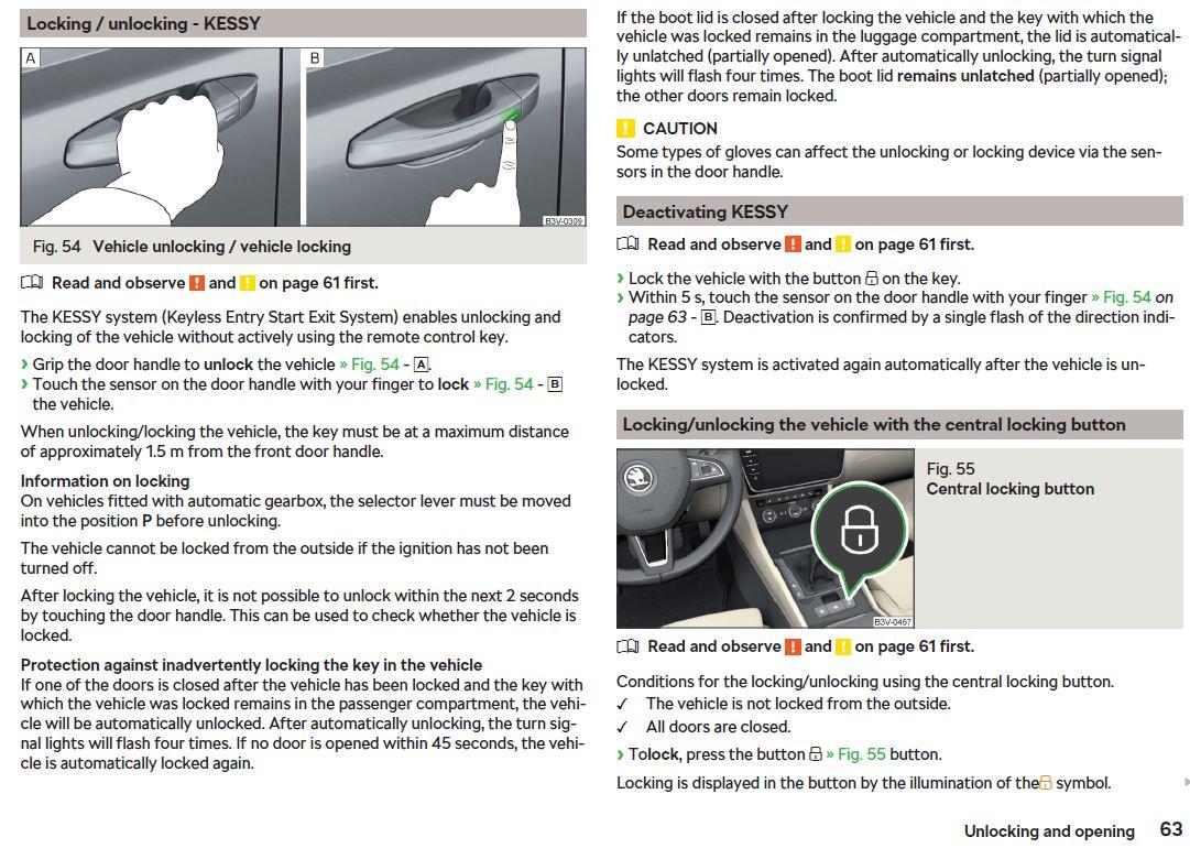 Kessy Car locking - Skoda Superb Mk III - BRISKODA